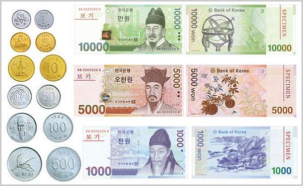 Kinh nghiệm du lịch Hàn Quốc: tiền Won