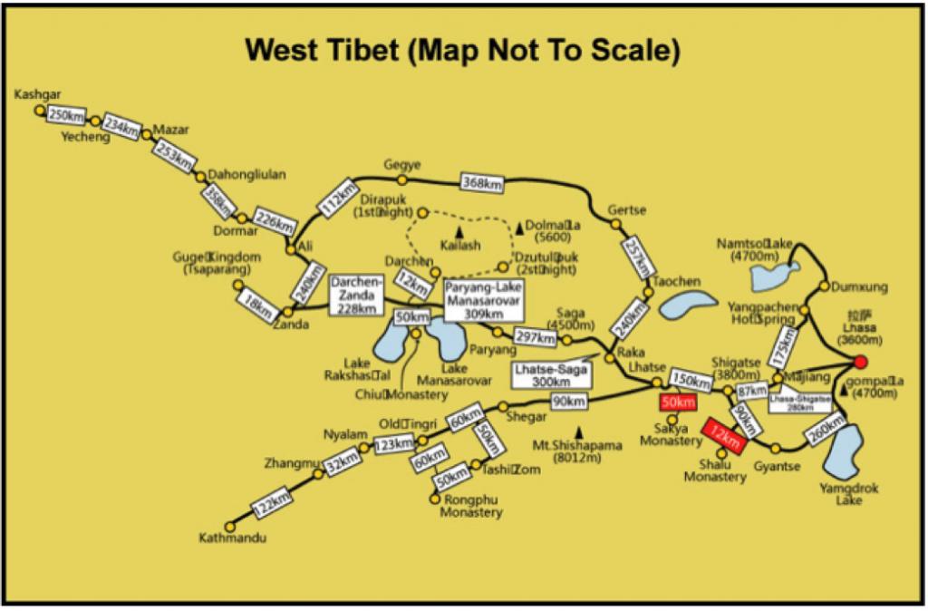 bản đồ du lịch Tây Tạng