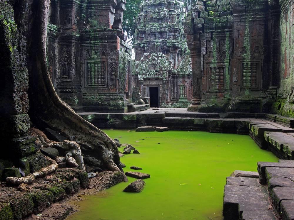 Ta Prohm là đền nhớ ơn Mẹ, còn gọi là đền Cây. Nơi đây từng là phim trường của bộ phim nổi tiếng Bí mật ngôi mộ cổ.