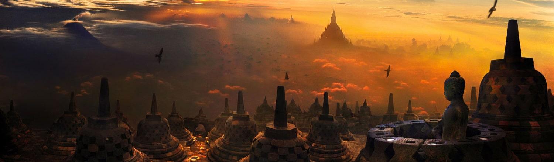 Nhìn từ xa, ngôi đền giống như một ngọn đồi hay một kim tự tháp với nhiều tượng Phật và bảo tháp, công trình hoàn toàn được xây dựng và tạc bằng một loại đá núi lửa màu xám khai thác trên đảo Java.