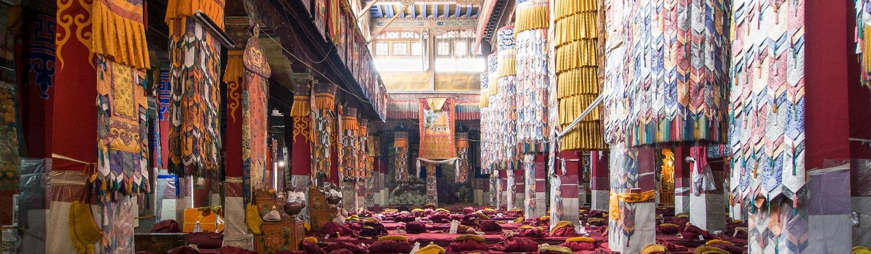 Mỗi tu viện ở Tây Tạng là một phức hợp bao gồm các tòa nhà, làng xóm được nối liền bởi những con đường quanh co, với các nhà dành riêng cho các nhà sư, phòng họp lớn, những bức tượng khổng lồ với những biểu hiện khác nhau của Đức Phật.