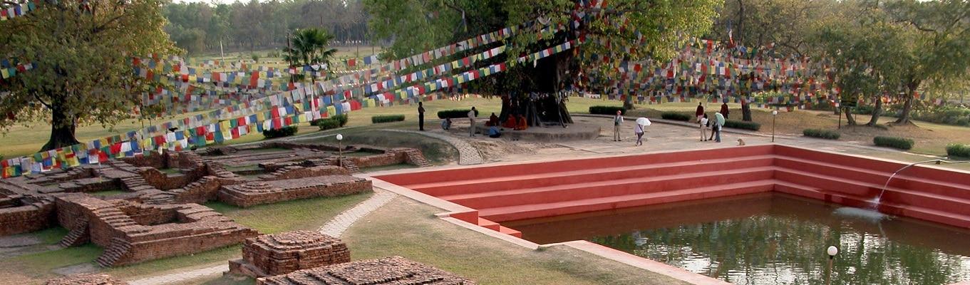 Lâm Tỳ Ni, nơi Đức Phật đản sinh với các điểm như: Đền Thờ Hoàng Hậu Mada, hồ nước thiêng, cây Bồ Đề, trụ đá vua A Dục.