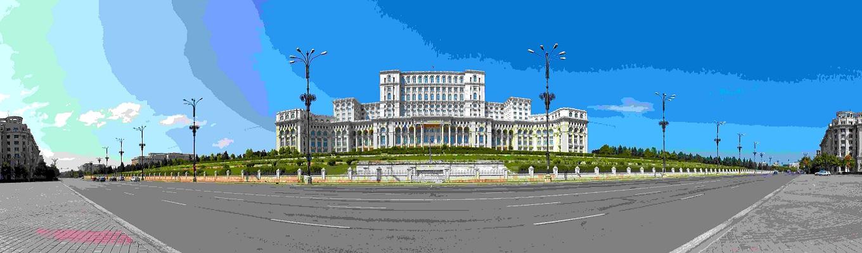 Toà nhà Quốc Hội, biểu tượng của thủ đô Bucharest thịnh vượng, bao gồm 1.100 phòng với một màu trắng chủ đạo cùng các hoạ tiết hoa văn tinh tế, tỉ mỉ.