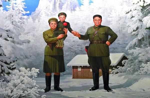 Hình vẽ gia đình nữ anh hùng Kim Jong Suk.